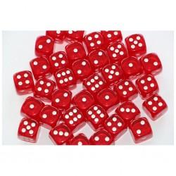 CHESSEX- Set de 36 dés 6 Transparent Rouge/blanc