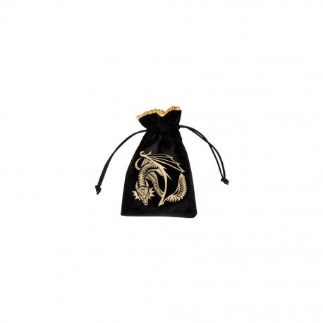 QW - velour dice bag dragon black & golden